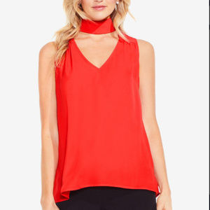 Christmas Red High-low Hem Choker Top NWT $79 L